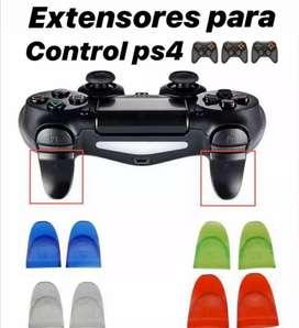 Extensores de gatillo para control PS4, para mayor comodidad durante el juego.