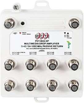 PCT PCT-MA2-8PN Cable bidireccional de 8 Puertos para TV, OTA, Amplificador de televisión satélite HDTV, Amplificador de
