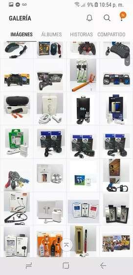 Cargadores, manos libres, parlantes, controles, vidrios protector