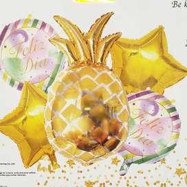 Globo metalizado de feliz dia figura de piña (5 piezas)