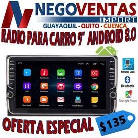 RADIO PANTALLA DE 9 PULGADAS ANDROID MIRROR LINK GPS BLUETOOTH