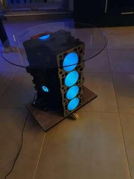 Mesa ratona porta vinos con luz led motor de auto