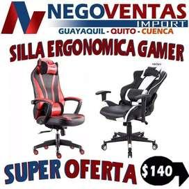 SILLA GAMER ERGONOMICA RECLINABLE TIPO OFICINA
