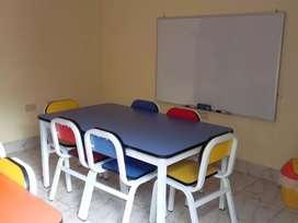 Mesa de inicial + 6 sillas NIDO