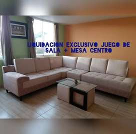 Liquidación Total de exclusivo Juego de Sala + Mesa de Centro + Forro