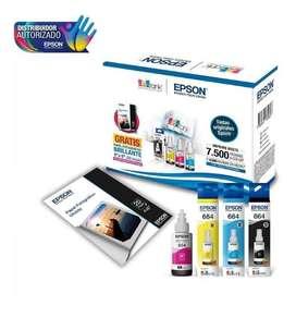 """Kit de Botellas Epson KT664120-BL T664 + Papel Glossy 20H (4""""X6"""")"""