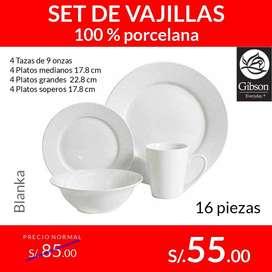 Set de Vajillas/Platos 100% porcelana