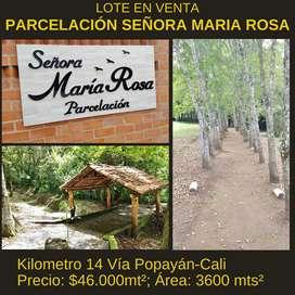 LOTE EN VENTA EN EL KILÓMETRO 14, VIA POPAYÁN-CALI
