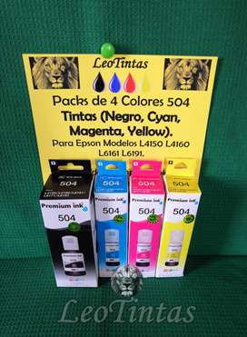 Tintas para Impresoras Epson compatibles para 504 modelos L4150 L4160 Packs de 4 Colores