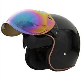 Visor retro-vintage burbuja para casco de moto con bisagra