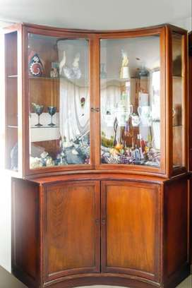mueble madera vidrio sala comedor living