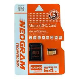 Memoria Micro SD + Adaptador SD de 64GB Marca Neogram Technology