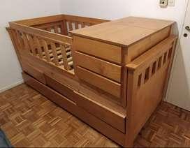 cama cuna funcional con gavetero, baul y cama carro.