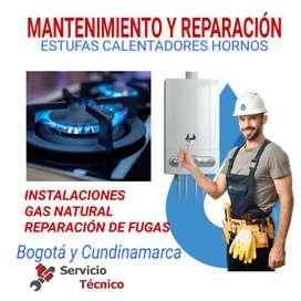 Mantenimiento servicio técnico Estufas y calentadores a gas, instalaciónes de gas natural, fugas