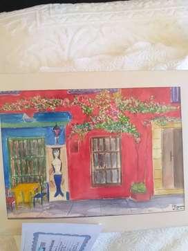 Acuarela original de la pintora Nancy Samur con su certificado