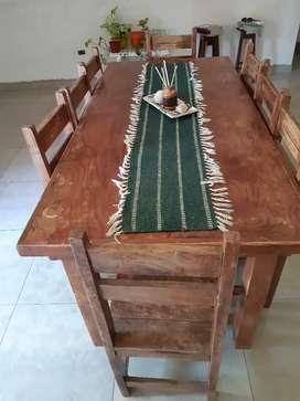 Mesa con 8 sillas pino masizo