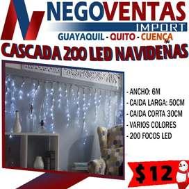 Luces led cascada de 200 navideñas decorativas