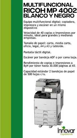 Vendo fotocopiadora multifuncional RICOH MP4002 Blanco y Negro