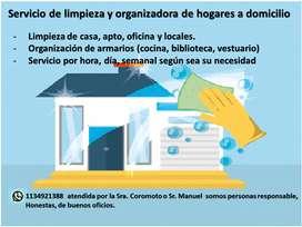 Servicio de limpieza y organizadora de hogares a domicilio