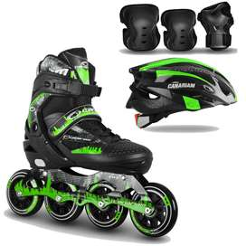 Combo patines canariam roller team + kit de porteccion + casco