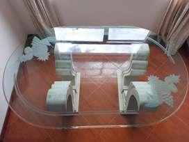Comedor de 6 Puestos, Vidrio Templado De 19 mm, Bases En Mármol