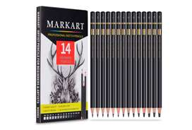 Markart - Juego de 14 lápices de dibujo profesionales para dibujar 12B, 10B, 8B, 6B, 4B, 3B, 2B, B, B, HB, F, H, 2H, 3H,