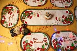 Individuales navideños PAPÁ NOEL- 6 puestos  1 camino