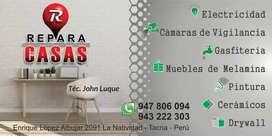 """""""Reparo Casas"""" Gasfiteria, Electricidad, Pintura, Drywall, Cámaras de Vigilancia."""