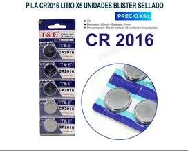 PILA CR2016 LITIO T&E X5