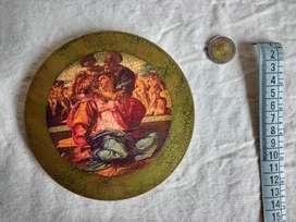 Cuadro Circular Pintura sobre madera La trinidad. renacentista 13 cm