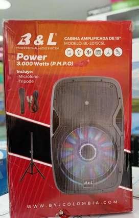 Parlante b&l 3000watts 15 pulgadas, Incluye tripode y micrófono