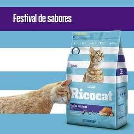 Ricocat Gatos adultos Festival de sabores  Bolsa de 9 Kg con DELIVERY GRATIS