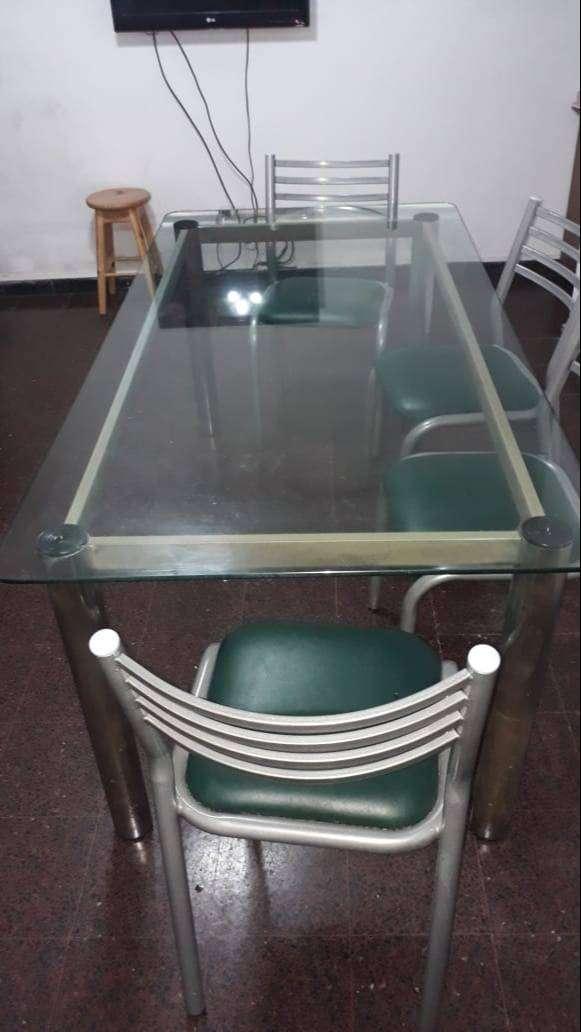 Mesa caño y vidrio 1.80x90 0