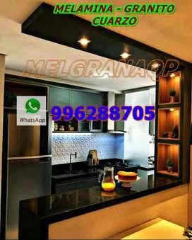 Muebles de Melamina y Mesada de piedra Granito-Cuarzo