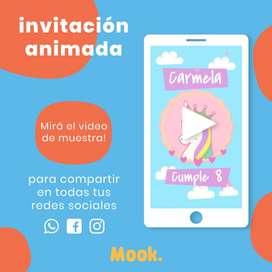 Unicornio Invitación Animada en Video