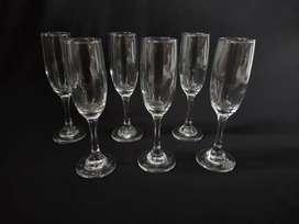 Set de 6 copas de flauta champaña