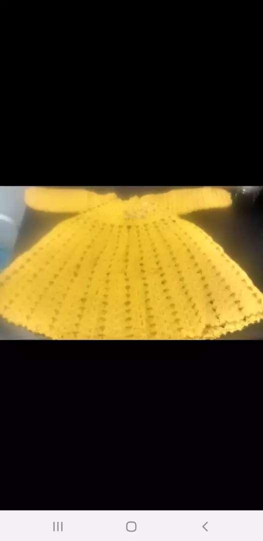 Vestido tejido d lana para bebas hasta un año y medio tejido al crochet 0
