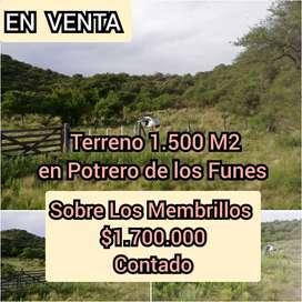 EN VENTA- Terreno 1.500 Mts2  Potrero de los Funes