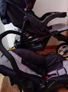 Vendo coche para niña, con silla para carro bebesit