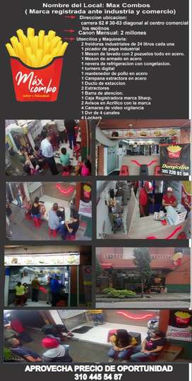 Ganga, se vende negocio de comidas rápidas diagonal a centro ccial molinos