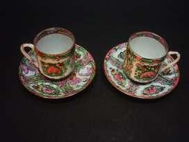 Dos Pocillos Con Platos Porcelana China Familia Rose