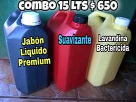 Jabón líquido baja espuma premium - suavizante - lavandina bactericida