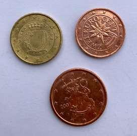 Malta, Finlandia y Austria euro monedas