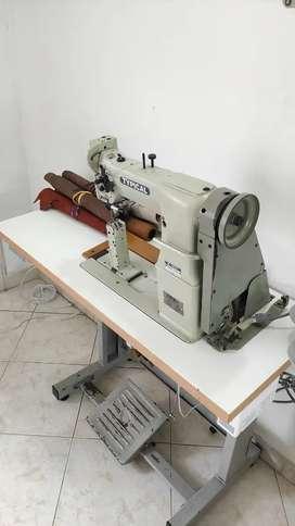 Máquina de coser cuero doble transporte