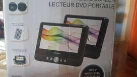 vendo reproductor de dvd para carro con acceso a USB doble pantalla más sujetador transportable