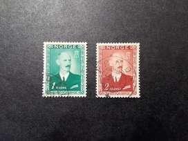 2 ESTAMPILLAS NORUEGA, 1946, REY HAAKON VII, USADAS