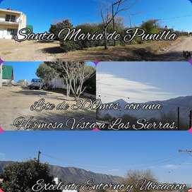 Vendo lote en Santa Maria Hermosa Vista a las Sierras, Excelente Ubicación