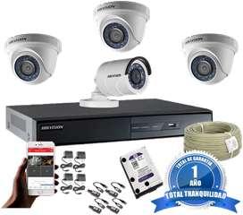 CCTV Hikvision Kit Dvr 8 ch más 4 Cámaras De Seguridad Turbo HD
