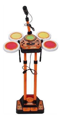 Batería Musical Electrónica Niños Micrófono Adaptador Pared 0