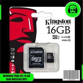 MEMORIA KINGSTON 16GB  1000 MÚSICAS EN MP3